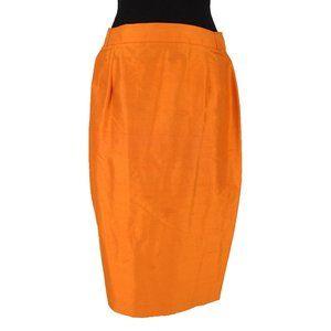 Louis Féraud Orange Silk Pencil Skirt size 42 12